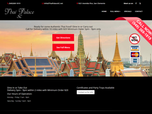 Thai Palace San Clemente Website